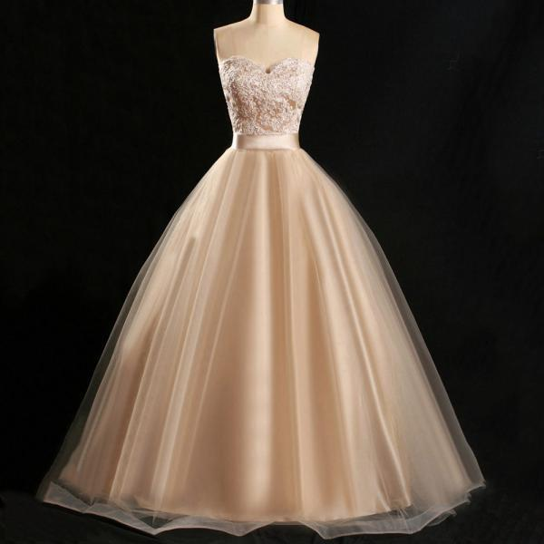Champagne Tulle Ball Gown with Belt, Sweetheart Prom Dresses with Lace Appliques, Inexpensive Floor-length Prom Dresses, #020102180