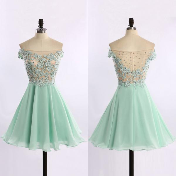 Off-the-shoulder Chiffon Prom Dresses with Lace Appliques, See-through Tulle Short Prom Dresses, Mint Green Homecoming Gowns, #020102178