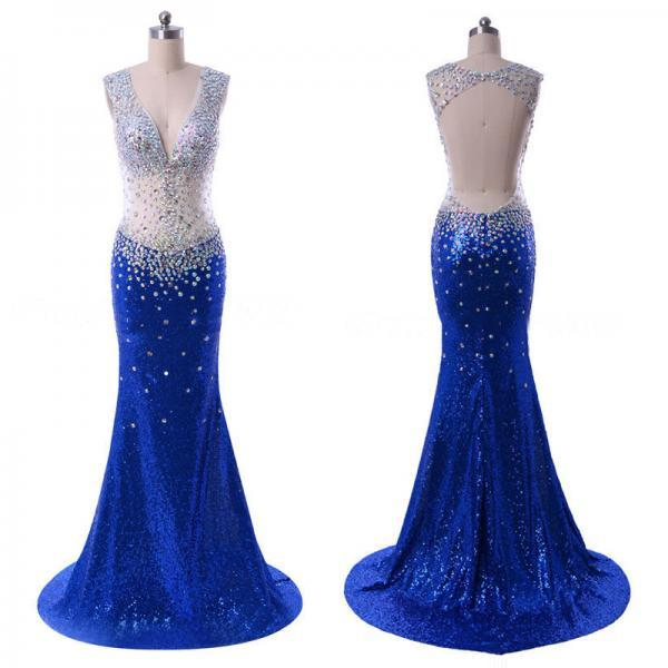 Royal Blue Open Back Prom Dress, Glittering See-through V-neck Prom Dress, Crystal Sequined Mermaid Prom Dresses, #020102108