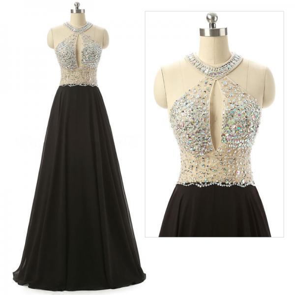 Sexy Black Prom Dress with Cutout, Halter Floor-length Prom Dress with Beaded Round Neck, Open Back Chiffon Prom Dress, #020102107