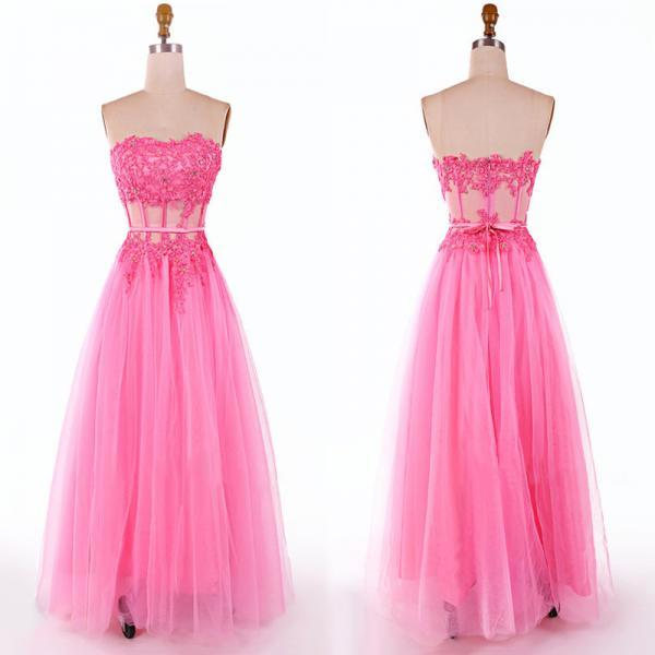 Pretty Sweetheart Prom Dresses with Lace Appliques, Floor-length Tulle Ball Gown Prom Dress, Hot Pink Prom Dresses, #020102088