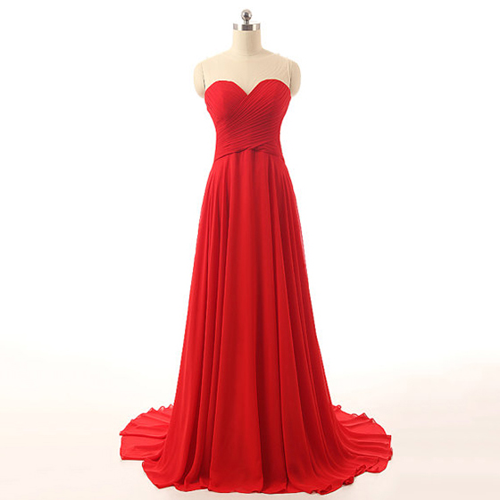 Red Floor Length Chiffon Prom Gown Featuring Ruched Sweetheart Illusion Bodice, Lace Appliqués Open Back and Court Train