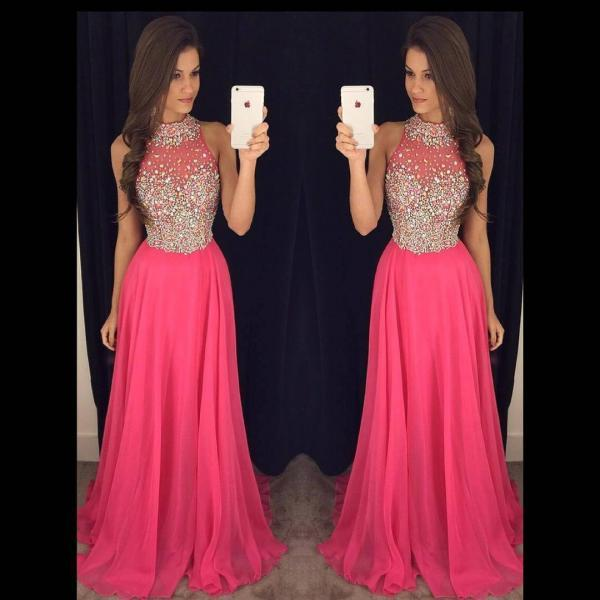 High Neck Illusion Crystal Beaded Tulle Prom Dress, Princess Pink Long Sweep Train Prom Dress, Chiffon Prom Dress with Key Hole Back, #020102445