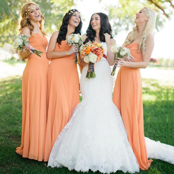 Orange Long Bridesmaid Dresses, Perfect Sweetheart Bridesmaid Dress with Ruching Detail, Flattering Chiffon Column Bridesmaid Dresses, #01012572