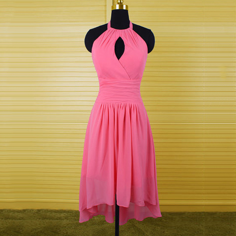 Inexpensive Fuchsia Bridesmaid Dress with Keyhole Front, Halter Chiffon Bridesmaid Dress, Asymmetrical Bridesmaid Dress with Soft Pleats, #01012541