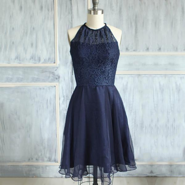 Modest High Neck Lace Bridesmaid Dresses, Elegant Dark Navy Knee-length Bridesmaid Dresses, Short Bridesmaid Dress with a Keyhole Back, #01012474
