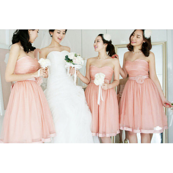 Pink Sweetheart Bridesmaid Dresses with a Ribbon, Princess Bridesmaid Dresses with Flowers, Cute Tulle Bridesmaid Dresses, #01012204