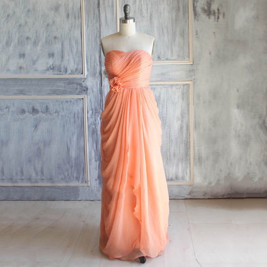 Orange Bridesmaid Dress with Ruched Bust, Sweetheart Chiffon Bridesmaid Dress with Flowers, Junior Bridesmaid Dress with Pleats, #01012392