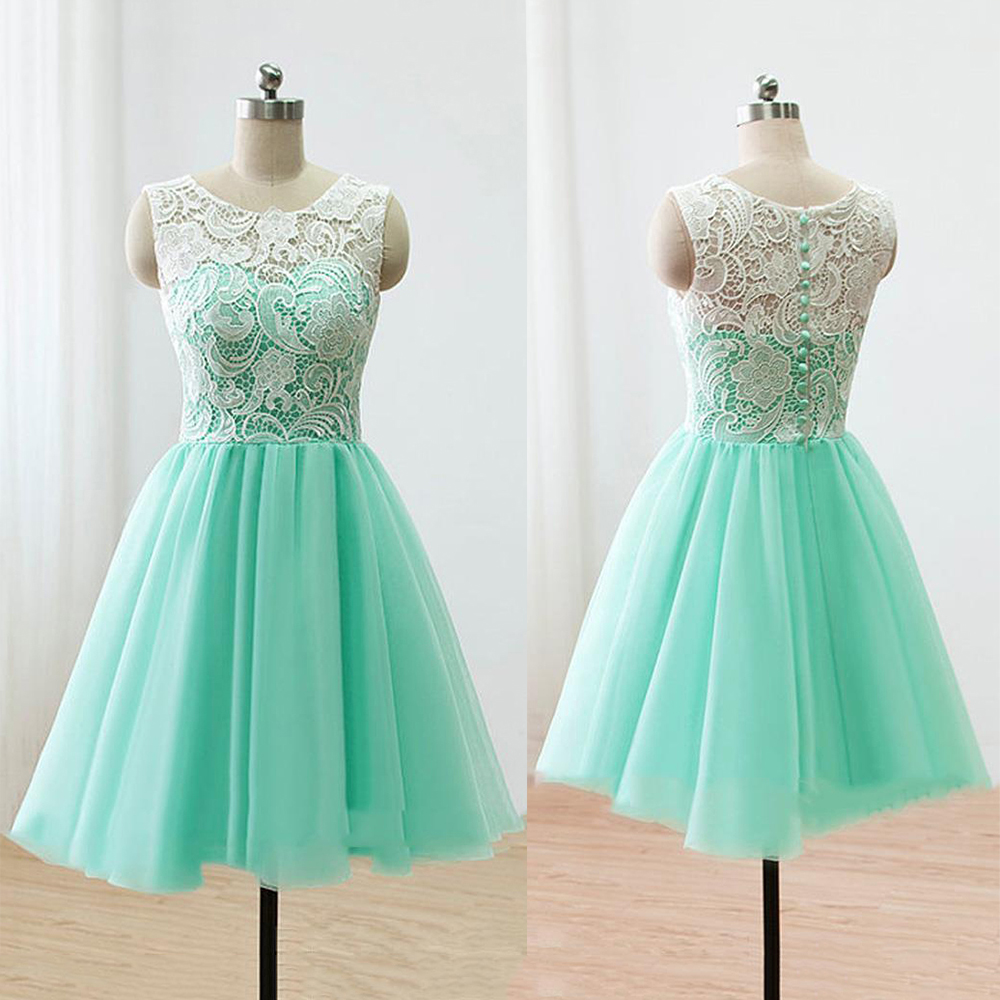 sleeveless green prom dress illusion lace prom dresses