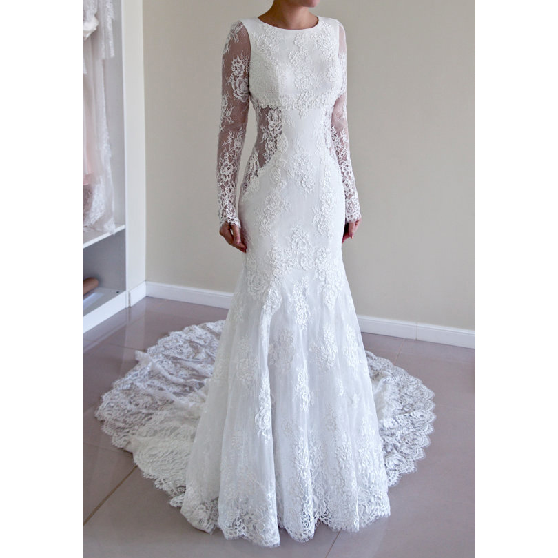 Sexy lace backless long sleeve wedding dresses new for High neck backless wedding dress